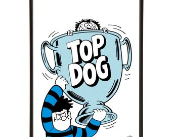 Top Dog Trophy Pop Art with the Beano's Dennis proudly holding up his award whilst his faithful dog Gnasher pokes his head and paws out