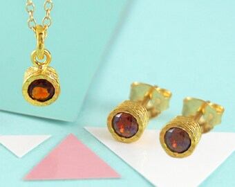 Garnet Jewelry Set-January Birthstone Gift-Special Birthday Gift-Red Gemstone Jewelry-Necklace and Earring Set-Gold Jewelry Set-Garnet Studs