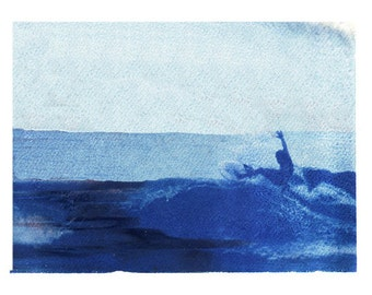 Surfing Art Polaroid Transfer Surf Beach Art Blue 11x14 Print