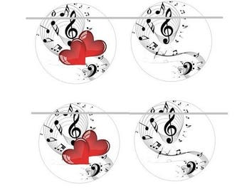 """16mm, 2 pairs of cabochons """"hearts and music"""""""