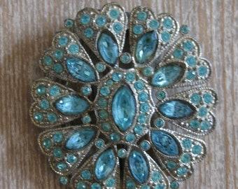 Antique rhinestone jewelry, aqua rhinestones, shoe clip, Shabby Chic