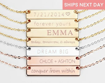 Personalized Bar Necklace Personalized Graduation gift Women Name Necklace Name Plate Necklace Initial Necklace Gold Bar Necklace  - 4N