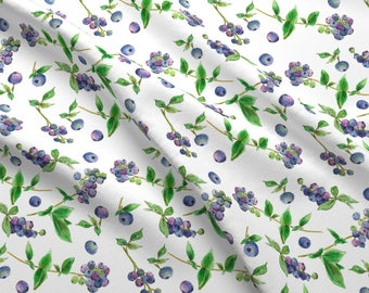 Summer Blueberries Fabric - Blueberries By Countrygarden - Summer Fruit Kitchen Decor Cotton Fabric By The Yard With Spoonflower