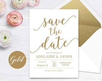 Gold Save the Date Template, Printable Save the Date Card, Editable Text, 5x7, Modern Calligraphy, VW10GOLD