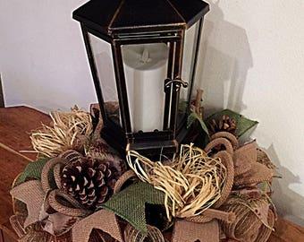 "15"" Pinecone Burlap Candle Lantern Centerpiece/Pinecone Candle Arrangement/Candle Arrangement/Candle Centerpiece/Lantern Arrangement"
