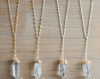 Rosary Quartz Necklace. Quartz Necklace. Rosary Necklace. Rosary Chain. Moonstone Necklace. Chalcedony Necklace. Layering Necklace
