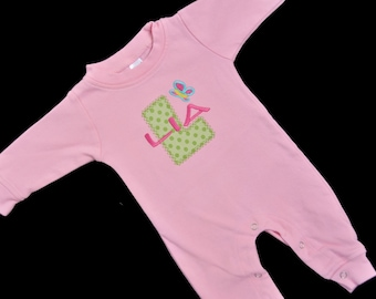 Personalized Baby Girl Sleeper with Applique Letter and Butterfly