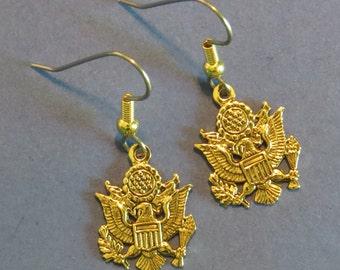 U.S. Army Earrings 24 Karat Gold Plate American Eagle EG496 / ES442
