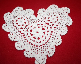 Hand Crocheted Doily-  Heart shape