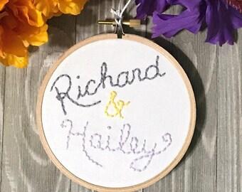 Couple names Embroidered Hoop Art - Custom Wedding Art - Anniversary Gift