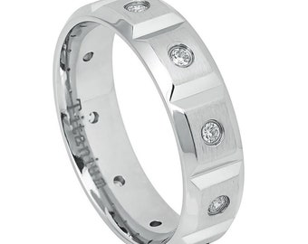 6mm Titanium Band White IP Brushed Notches and 10 Cubic Zirconia CZs / Gift box(JDTI643)
