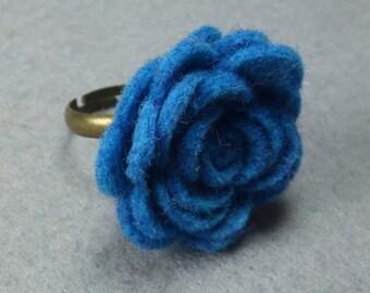 Blue Flower Ring - Blue Rose Ring -Felt Flower - Felt Ring - Adjustable Ring -Artificial Flower -Fake Flower -Flower Jewelry -Felt Jewelry