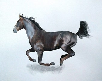 Original painting galloping horse unique watercolor