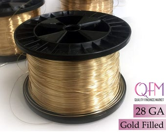1 meter (3.28 feet) yellow gold filled wire, Thickness 28 GA (0.3mm) - also available in bulk (spools) - Soft gold filled wire 28 Gauge
