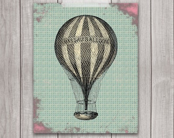 8x10 Printable Art, Vintage Hot Air Balloon, Wall Art, Nursery Art, Home Decor, Nursery Decor, Printable, Digital Download