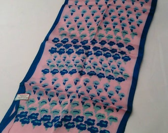 Vintage Pink and Blue Long Acetate Scarf (Made in Italy)