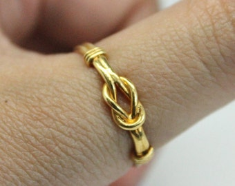 14k Gold Knot Ring | Stacking Ring | Stackable Ring | Thin Gold Ring | Small Ring