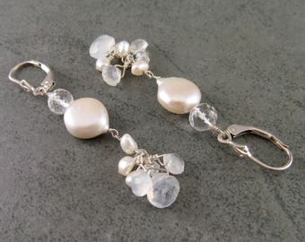 Moonlight Wedding earrings, handmade quartz, coin pearl, rainbow moonstone earrings, sterling silver bridal jewelry-OOAK