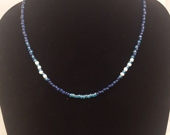 Dark Blue, Light Blue and White Seed Beads