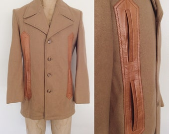 1970's Beige Wool & Leather Coat Men's Vintage Jacket Size Small 38 by Maeberry Vintage