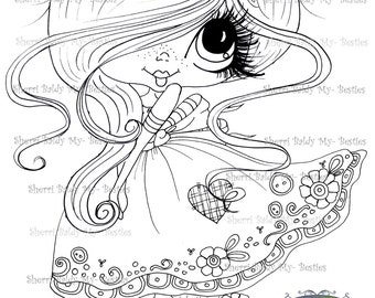 INSTANT DOWNLOAD Digital Digi Stamps Big Eye Big Head Dolls Digi  Img899  By Sherri Baldy