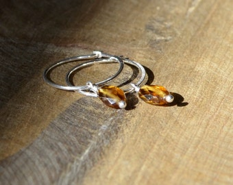 Sterling Silver Hoops and Hessonite Garnets