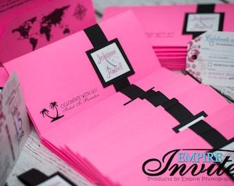Boarding Pass wedding invitation, destination wedding invites | Invitations handmade in Canada by -- www.empireinvites.ca --