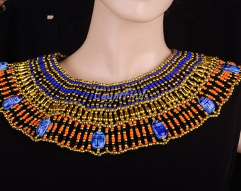 Lovely Egyptian Beaded Cleopatra 9 Scarabs Necklace Collar