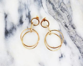 Vintage Gold Drop & Dangle Circle Earrings with Diamond Details