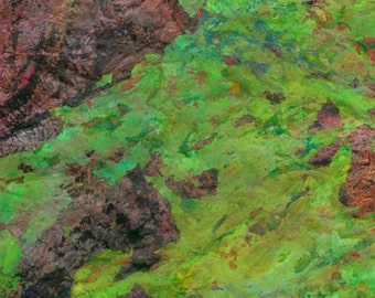 Eco Fine Art Bittergreen - Orignal Mixed Media Acrylic, Watercolor Painting