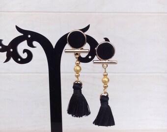 Black and gold Bohemian earrings