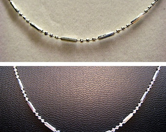 Silver Colored Ball & Bar Chain Necklace