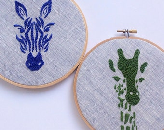 "Zebra or Giraffe by mlmxoxo.  hand embroidered. safari.   animal motif.   magenta.  green. aqua. ink blue.   6"" embroidery hoop art."