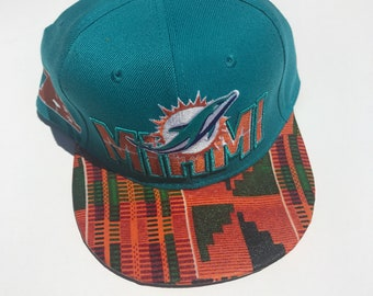 Miami Dolphin snapback adjustble NFL hat   With Kente African Fabric