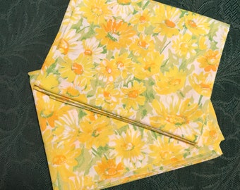 Two Vintage 1960's Pacific No Iron Yellow Floral Pillowcases