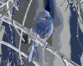 Blue Bird Art, Abstract Realism, Digital Print, Woodland Animal, Decorative Artwork, Gray Blue Home Decor, Wall Hanging, Giclee Print,8 x 10