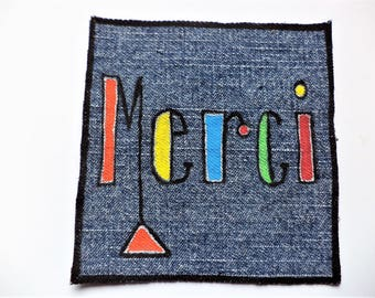 Merci, French Patch ,Colorful Patch , Recycled Cloth patch, French Language Patch,  Rad Patch,  Fabric Patch,Sew on Patch,Hand painted Patch