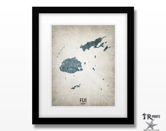 Fiji Map Art Print - Home Is Where The Heart Is Love Map - Original Custom Map Art Print Available in Multiple Sizes