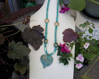 Antique Gold And Teal Heart Necklace