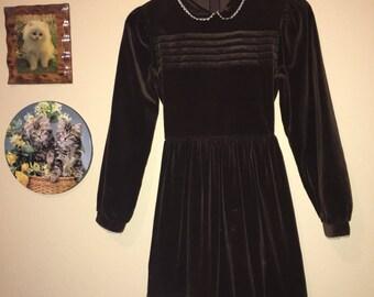 Late 60s/Early 70s Brown Velvet Babydoll Dress