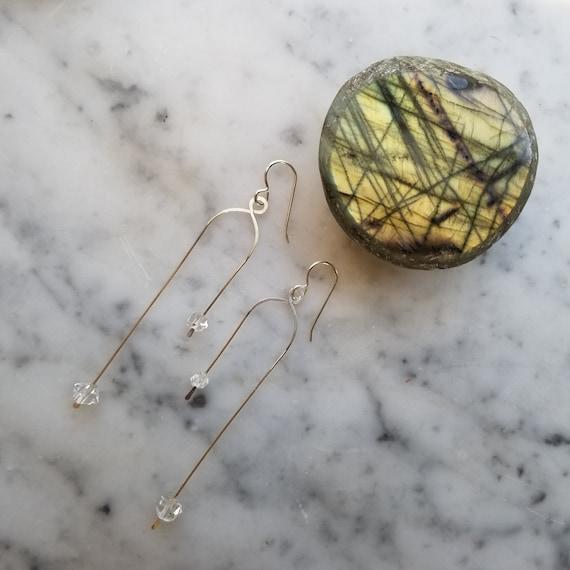 Asymmetrical sterling silver geometric earrings with herkimer diamonds