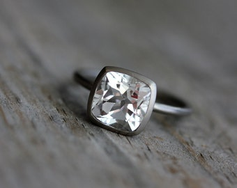 White Topaz Cushion Solitaire in 14k Palladium White Gold Ring, Conflict Free Non Diamond Engagement Ring, Handmade Ring, Eco Friendly