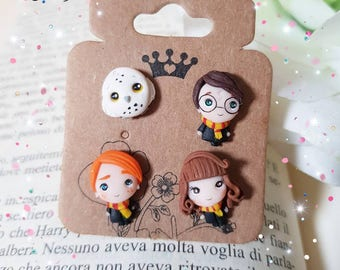 Lobe earrings with Harry Potter Ron weasly Hermione Granger in Fimo clay to pin kawaii lobes gift for fans of the saga