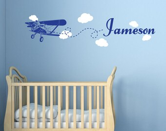 Plane in the Clouds - Monogram - Wall Decals