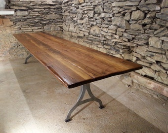 Viking Hall Conference Table from Reclaimed Heart Pine and Hand Forged Metal Base