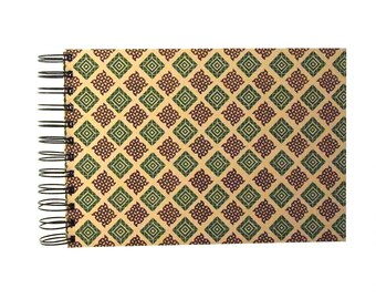 A5 Photo Album green brown checked, spiral bound album