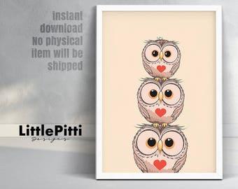 Owl nursery art, owl nursery decor, nursery wall art, woodland nursery, baby girl nursery, baby boy nursery, owl print, baby shower gift