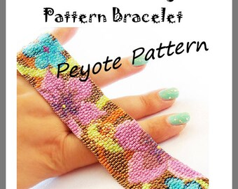 Flowers Flowers Peyote Pattern Bracelet - For Personal Use Only PDF Tutorial , delica pattern bracelet, flowers cuff tutorial miyuki beads