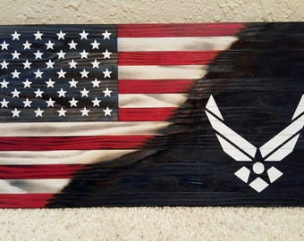 Burned Wooden American Air force Flag