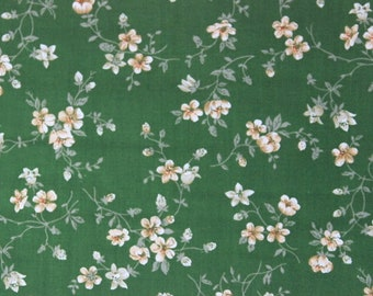 Unused cotton fabric, vintage dress fabric, green flowers, dirndl